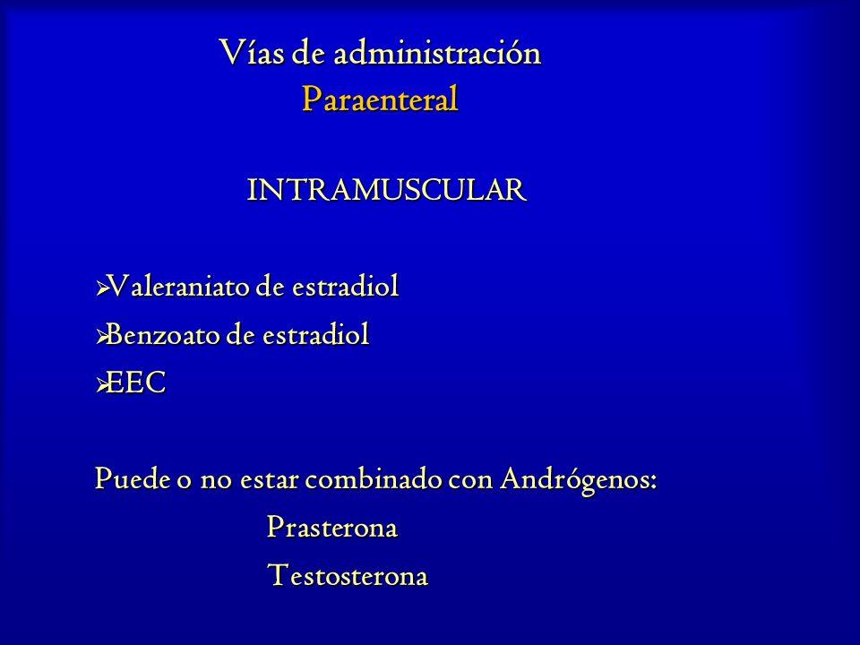 Vías de administración Paraenteral INTRAMUSCULAR Valeraniato de estradiol Valeraniato de estradiol Benzoato de estradiol Benzoato de estradiol EEC EEC