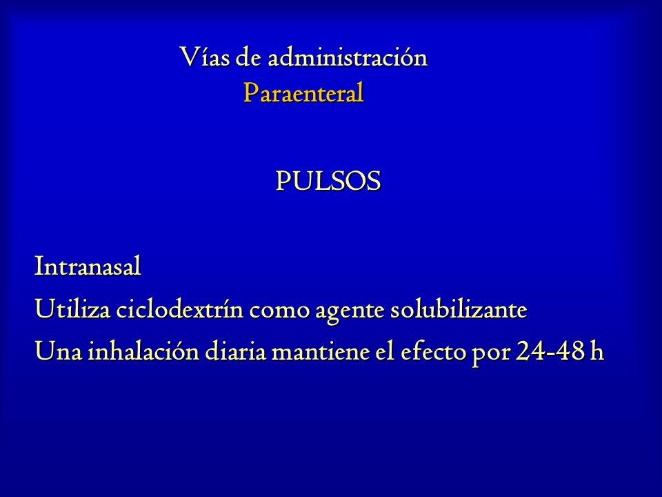 Vías de administración Paraenteral PULSOSIntranasal Utiliza ciclodextrín como agente solubilizante Una inhalación diaria mantiene el efecto por 24-48