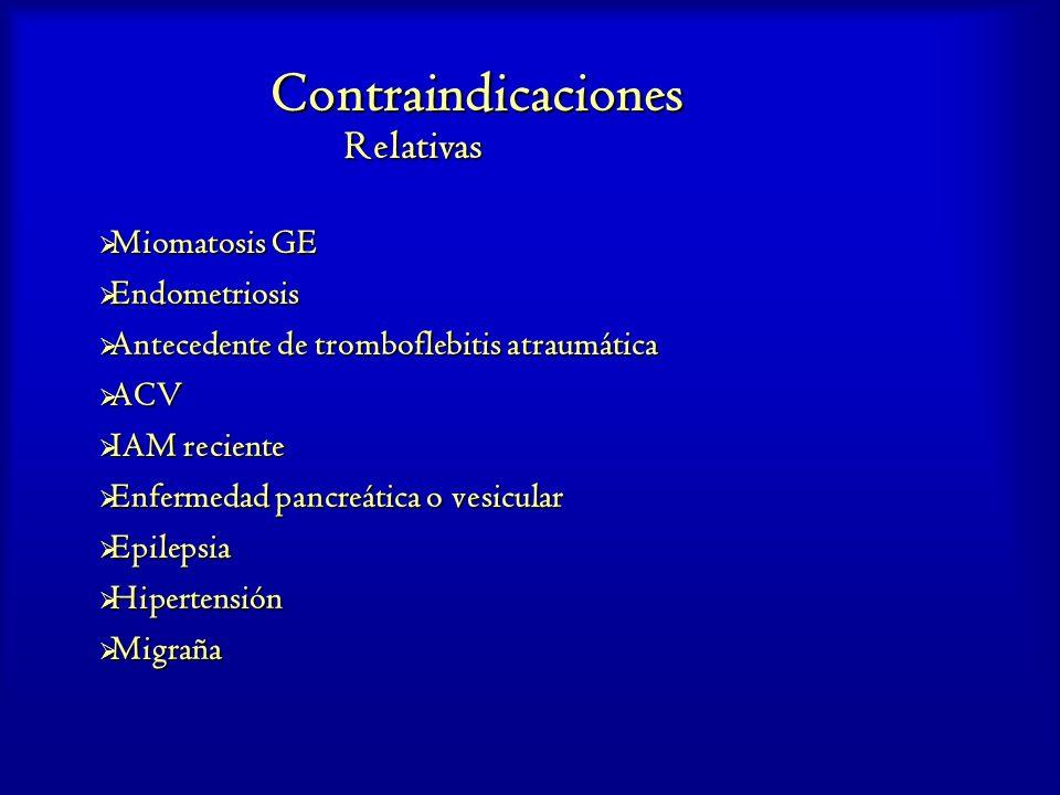 Contraindicaciones Relativas Miomatosis GE Miomatosis GE Endometriosis Endometriosis Antecedente de tromboflebitis atraumática Antecedente de trombofl