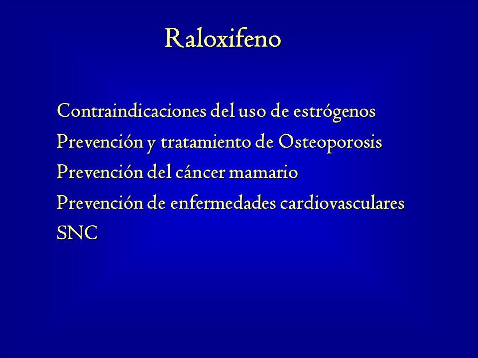 Contraindicaciones del uso de estrógenos Prevención y tratamiento de Osteoporosis Prevención del cáncer mamario Prevención de enfermedades cardiovascu