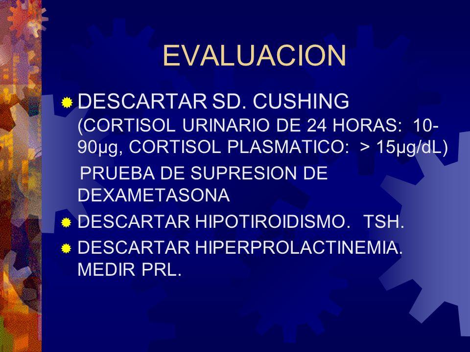 EVALUACION DESCARTAR SD. CUSHING (CORTISOL URINARIO DE 24 HORAS: 10- 90µg, CORTISOL PLASMATICO: > 15µg/dL) PRUEBA DE SUPRESION DE DEXAMETASONA DESCART