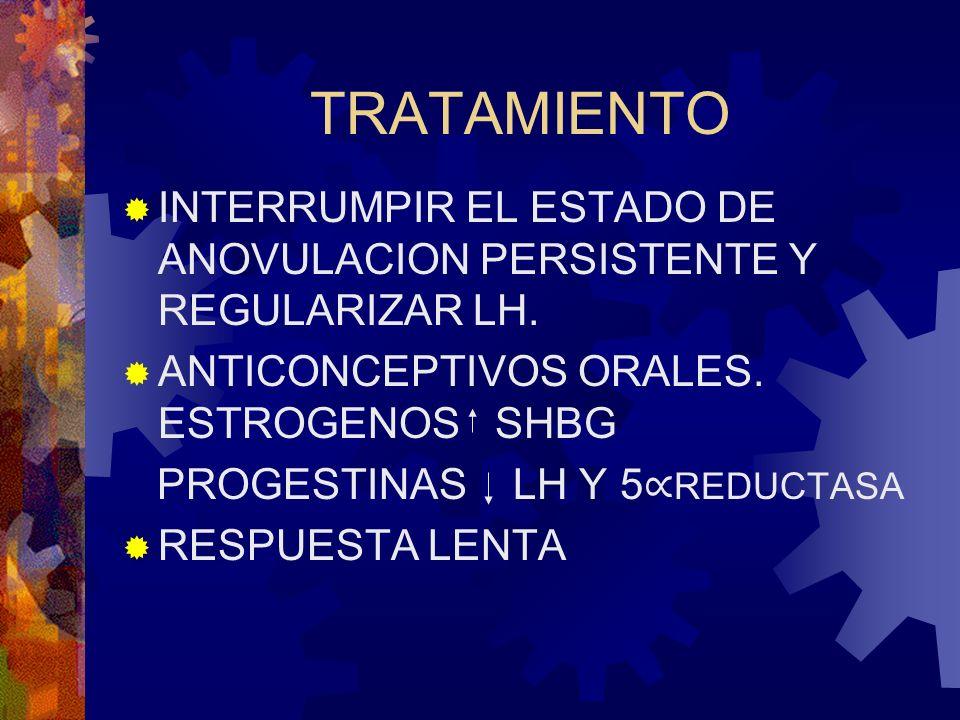 TRATAMIENTO INTERRUMPIR EL ESTADO DE ANOVULACION PERSISTENTE Y REGULARIZAR LH. ANTICONCEPTIVOS ORALES. ESTROGENOS SHBG PROGESTINAS LH Y 5 REDUCTASA RE