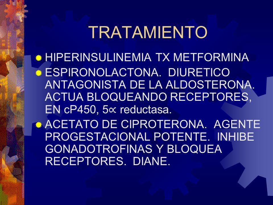 TRATAMIENTO HIPERINSULINEMIA TX METFORMINA ESPIRONOLACTONA. DIURETICO ANTAGONISTA DE LA ALDOSTERONA. ACTUA BLOQUEANDO RECEPTORES, EN cP450, 5 reductas