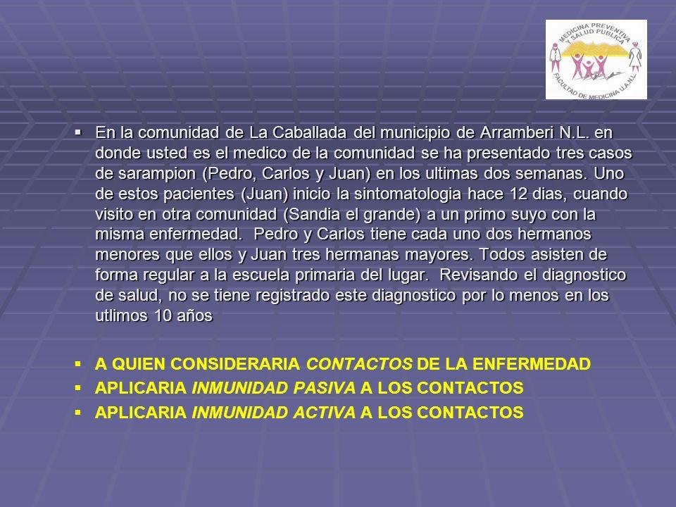 En la comunidad de La Caballada del municipio de Arramberi N.L. en donde usted es el medico de la comunidad se ha presentado tres casos de sarampion (