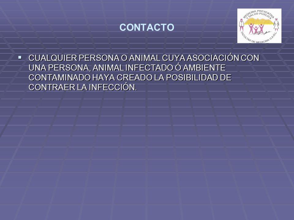 CONTACTO CUALQUIER PERSONA O ANIMAL CUYA ASOCIACIÓN CON UNA PERSONA, ANIMAL INFECTADO Ó AMBIENTE CONTAMINADO HAYA CREADO LA POSIBILIDAD DE CONTRAER LA INFECCIÓN.