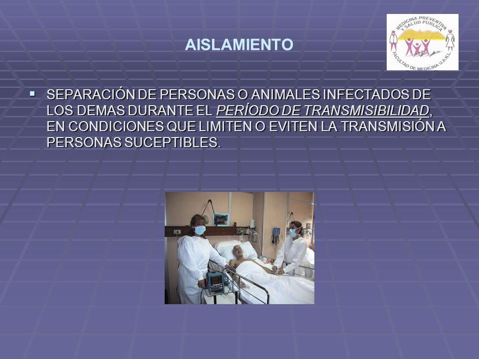 AISLAMIENTO SEPARACIÓN DE PERSONAS O ANIMALES INFECTADOS DE LOS DEMAS DURANTE EL PERÍODO DE TRANSMISIBILIDAD, EN CONDICIONES QUE LIMITEN O EVITEN LA TRANSMISIÓN A PERSONAS SUCEPTIBLES.