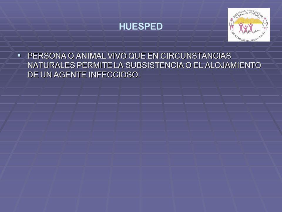 HUESPED PERSONA O ANIMAL VIVO QUE EN CIRCUNSTANCIAS NATURALES PERMITE LA SUBSISTENCIA O EL ALOJAMIENTO DE UN AGENTE INFECCIOSO. PERSONA O ANIMAL VIVO