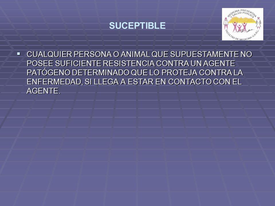 SUCEPTIBLE CUALQUIER PERSONA O ANIMAL QUE SUPUESTAMENTE NO POSEE SUFICIENTE RESISTENCIA CONTRA UN AGENTE PATÓGENO DETERMINADO QUE LO PROTEJA CONTRA LA ENFERMEDAD, SI LLEGA A ESTAR EN CONTACTO CON EL AGENTE.