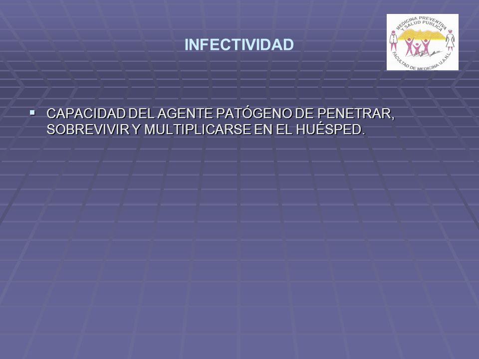 INFECTIVIDAD CAPACIDAD DEL AGENTE PATÓGENO DE PENETRAR, SOBREVIVIR Y MULTIPLICARSE EN EL HUÉSPED.
