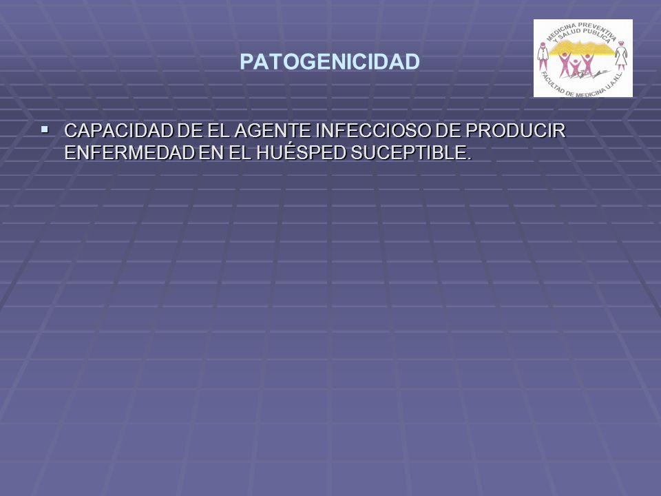 PATOGENICIDAD CAPACIDAD DE EL AGENTE INFECCIOSO DE PRODUCIR ENFERMEDAD EN EL HUÉSPED SUCEPTIBLE.