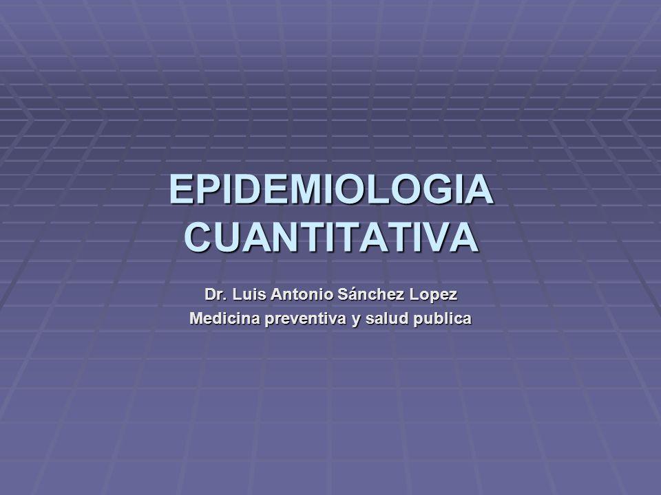 EPIDEMIOLOGIA CUANTITATIVA Dr. Luis Antonio Sánchez Lopez Medicina preventiva y salud publica