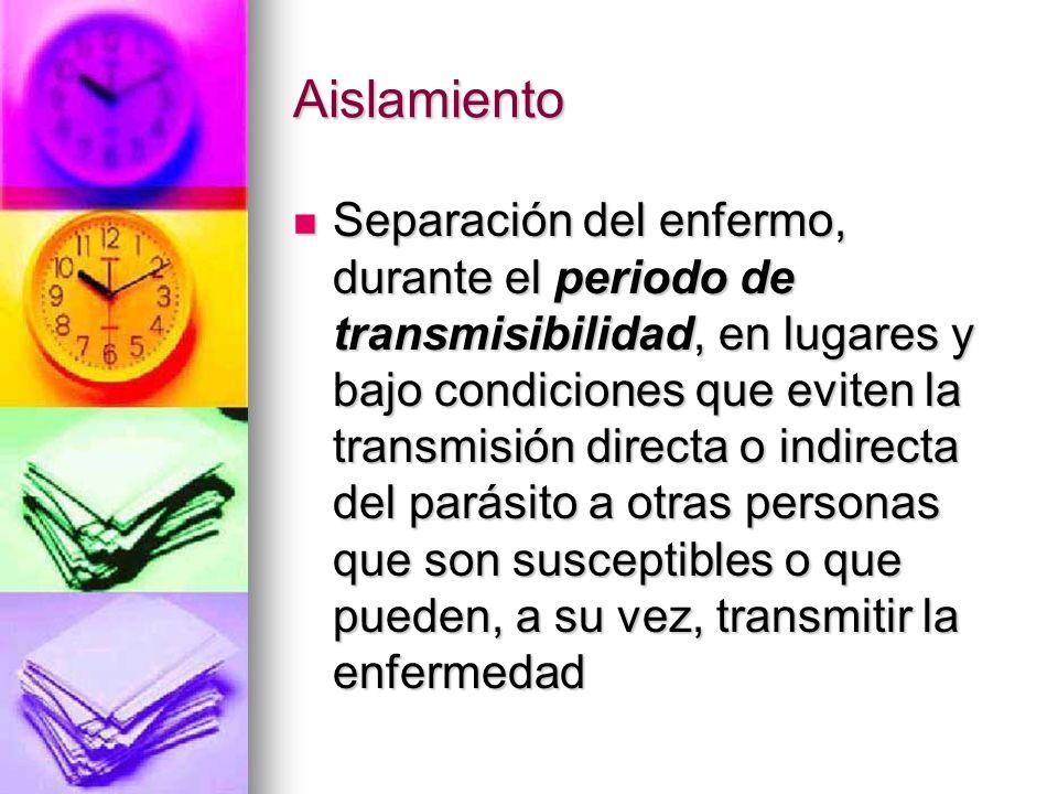 Aislamiento Separación del enfermo, durante el periodo de transmisibilidad, en lugares y bajo condiciones que eviten la transmisión directa o indirect