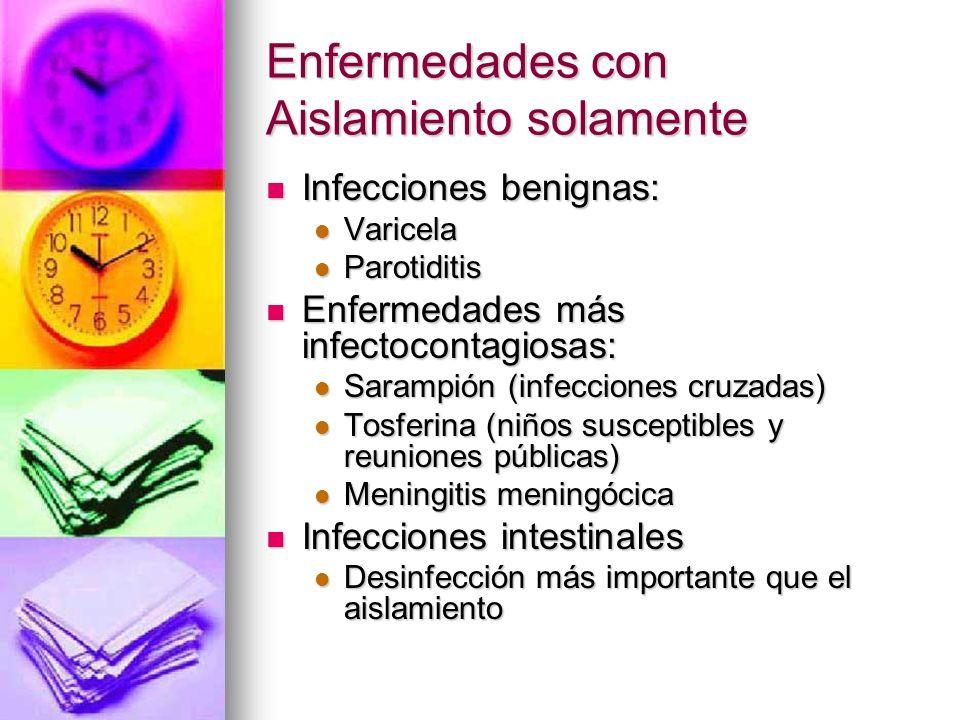 Enfermedades con Aislamiento solamente Infecciones benignas: Infecciones benignas: Varicela Varicela Parotiditis Parotiditis Enfermedades más infectoc