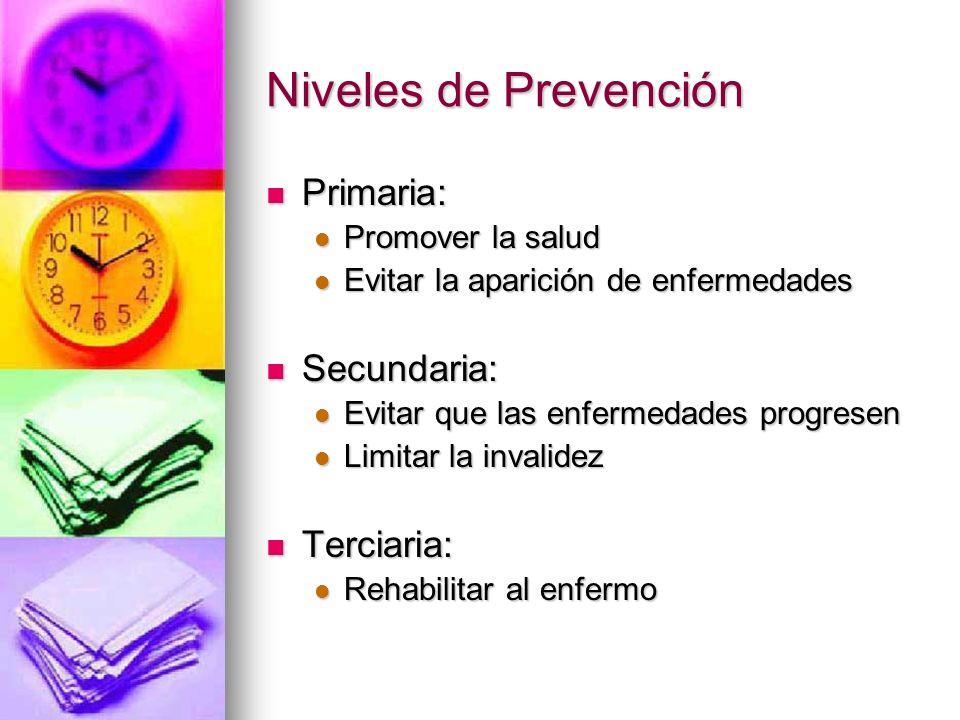 Niveles de Prevención Primaria: Primaria: Promover la salud Promover la salud Evitar la aparición de enfermedades Evitar la aparición de enfermedades
