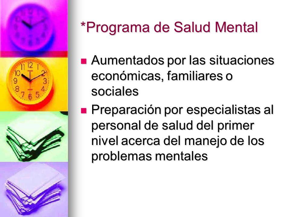 *Programa de Salud Mental Aumentados por las situaciones económicas, familiares o sociales Aumentados por las situaciones económicas, familiares o soc