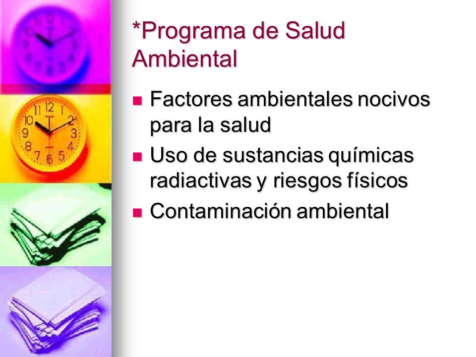 *Programa de Salud Ambiental Factores ambientales nocivos para la salud Factores ambientales nocivos para la salud Uso de sustancias químicas radiacti