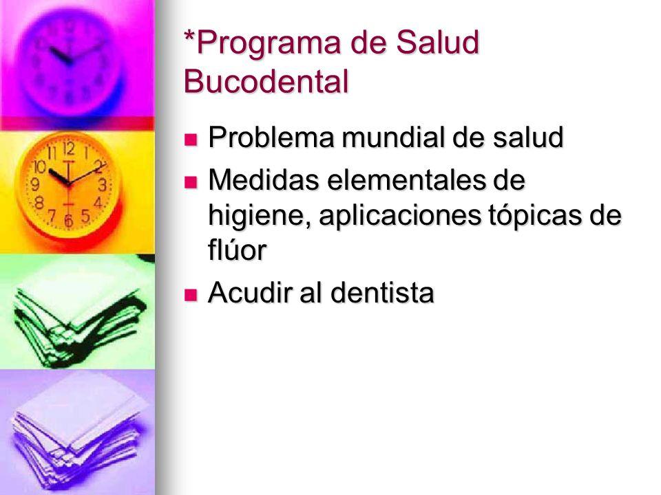 *Programa de Salud Bucodental Problema mundial de salud Problema mundial de salud Medidas elementales de higiene, aplicaciones tópicas de flúor Medida