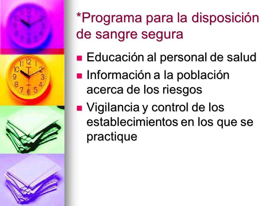 *Programa para la disposición de sangre segura Educación al personal de salud Educación al personal de salud Información a la población acerca de los