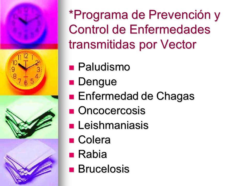 *Programa de Prevención y Control de Enfermedades transmitidas por Vector Paludismo Paludismo Dengue Dengue Enfermedad de Chagas Enfermedad de Chagas