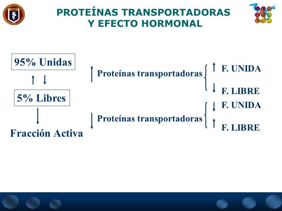 PROTEÍNAS TRANSPORTADORAS Y EFECTO HORMONAL Proteínas transportadoras F. UNIDA F. LIBRE F. UNIDA F. LIBRE 95% Unidas 5% Libres Fracción Activa