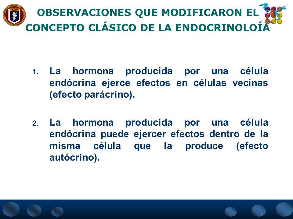 OBSERVACIONES QUE MODIFICARON EL CONCEPTO CLÁSICO DE LA ENDOCRINOLOÍA 1. La hormona producida por una célula endócrina ejerce efectos en células vecin