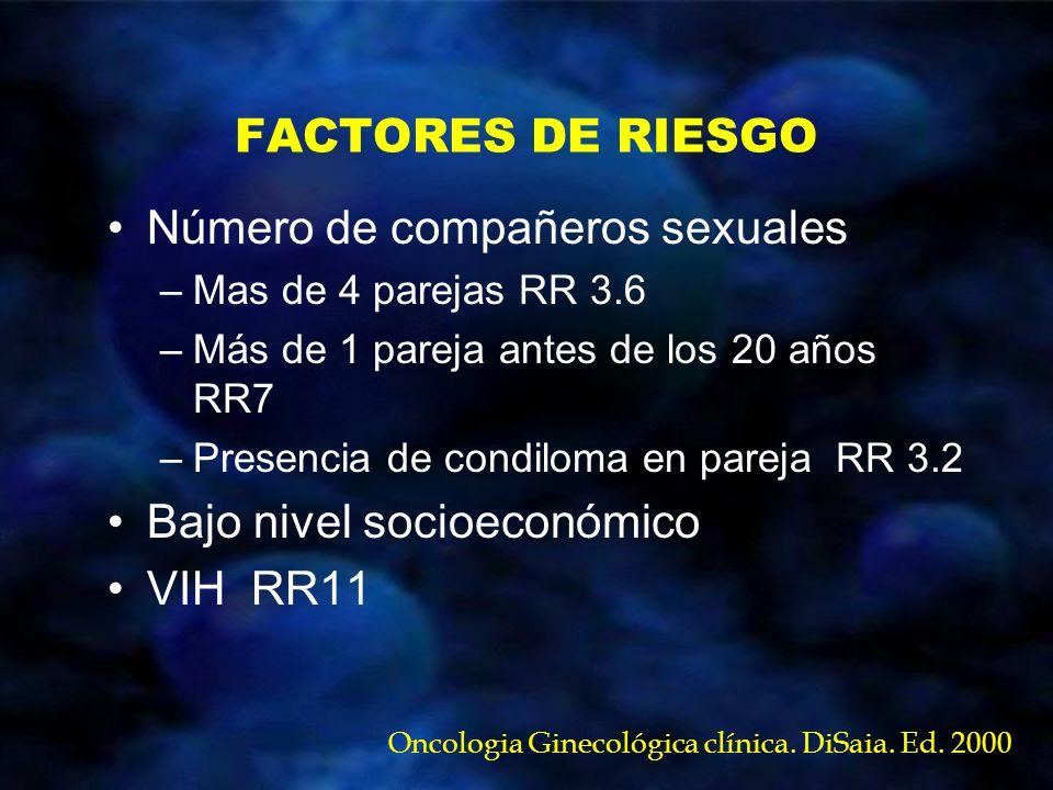 FACTORES DE RIESGO Número de compañeros sexuales –Mas de 4 parejas RR 3.6 –Más de 1 pareja antes de los 20 años RR7 –Presencia de condiloma en pareja