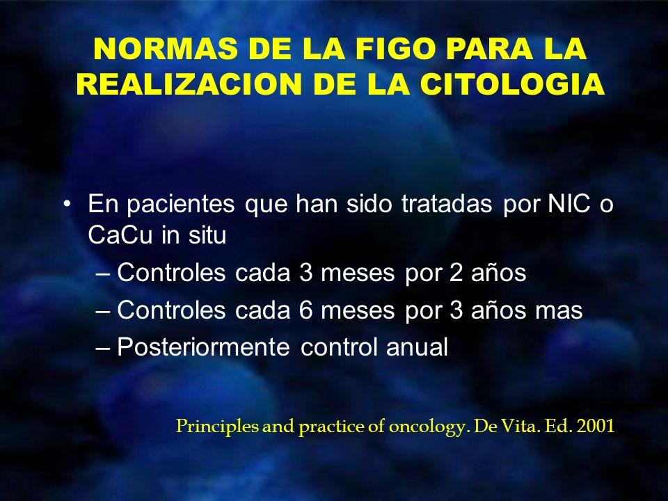 En pacientes que han sido tratadas por NIC o CaCu in situ –Controles cada 3 meses por 2 años –Controles cada 6 meses por 3 años mas –Posteriormente co