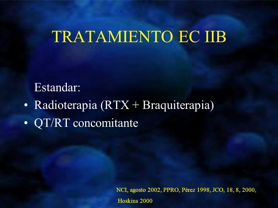 TRATAMIENTO EC IIB Estandar: Radioterapia (RTX + Braquiterapia) QT/RT concomitante NCI, agosto 2002, PPRO, Pèrez 1998, JCO, 18, 8, 2000, Hoskins 2000