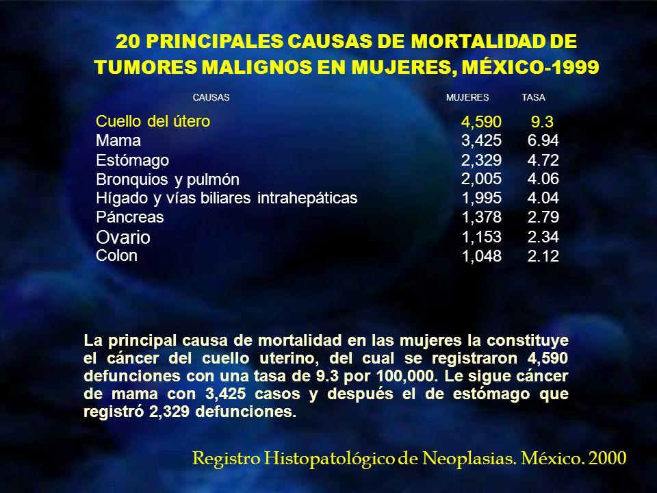 20 PRINCIPALES CAUSAS DE MORTALIDAD DE TUMORES MALIGNOS EN MUJERES, MÉXICO-1999 La principal causa de mortalidad en las mujeres la constituye el cánce