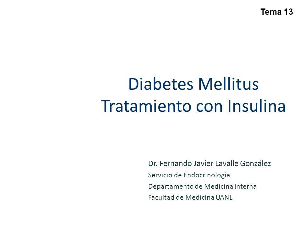 TREAT TO TARGET Algoritmo de dosificación: – Iniciar con 10 Uds al acostarse – Ajuste de insulina con AMG en ayuno 2 días previos: – > 180 mg/dL aumentar 8 Uds – 140 – 180 mg/dLaumentar 6 Uds – 120 – 140 mg/dLaumentar 4 Uds – 100 – 120 mg/dLaumentar 2 Uds – No aumentar dosis si se documentó una hipoglucemia en la semana previa Riddle MC, et al.