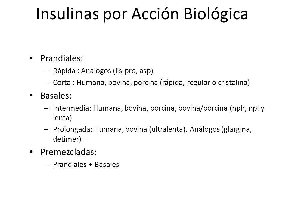 Insulinas por Acción Biológica Prandiales: – Rápida : Análogos (lis-pro, asp) – Corta : Humana, bovina, porcina (rápida, regular o cristalina) Basales