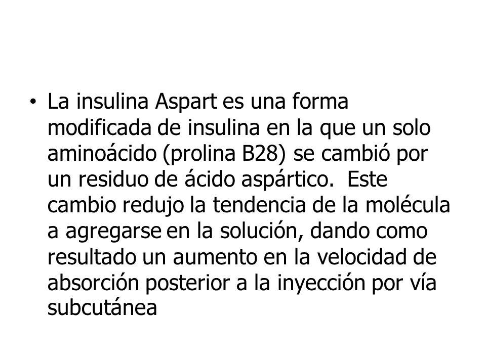 La insulina Aspart es una forma modificada de insulina en la que un solo aminoácido (prolina B28) se cambió por un residuo de ácido aspártico. Este ca