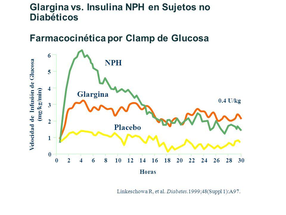 Linkeschowa R, et al. Diabetes.1999;48(Suppl 1):A97. 0 0 1 2 3 4 5 6 24681012141618202224262830 NPH Glargina Placebo 0.4 U/kg Horas Velocidad de Infus