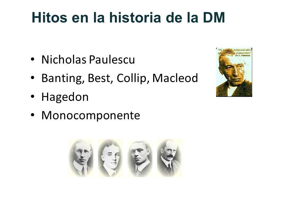 Hitos en la historia de la DM Nicholas Paulescu Banting, Best, Collip, Macleod Hagedon Monocomponente