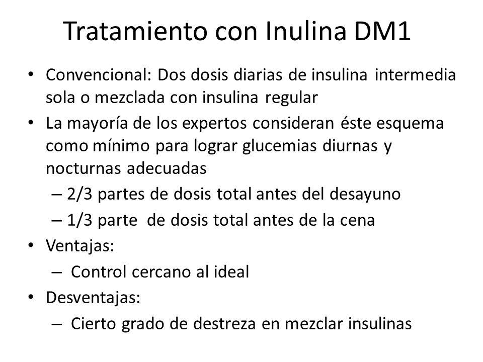 Tratamiento con Inulina DM1 Convencional: Dos dosis diarias de insulina intermedia sola o mezclada con insulina regular La mayoría de los expertos con