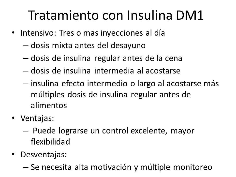 Tratamiento con Insulina DM1 Intensivo: Tres o mas inyecciones al día – dosis mixta antes del desayuno – dosis de insulina regular antes de la cena –