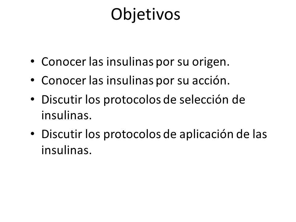 Objetivos Conocer las insulinas por su origen. Conocer las insulinas por su acción. Discutir los protocolos de selección de insulinas. Discutir los pr
