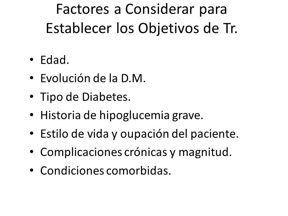 Factores a Considerar para Establecer los Objetivos de Tr. Edad. Evolución de la D.M. Tipo de Diabetes. Historia de hipoglucemia grave. Estilo de vida