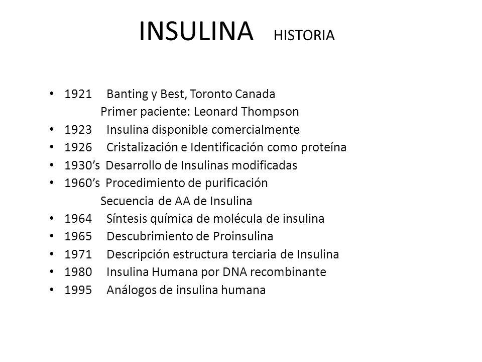 INSULINA HISTORIA 1921 Banting y Best, Toronto Canada Primer paciente: Leonard Thompson 1923 Insulina disponible comercialmente 1926 Cristalización e