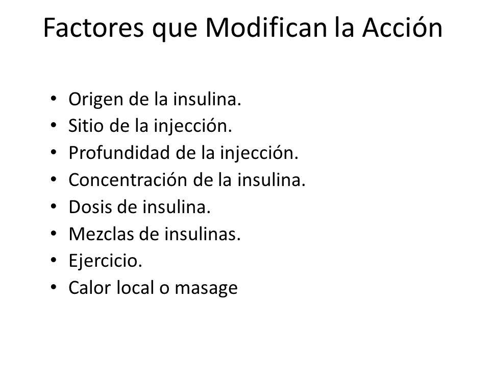 Factores que Modifican la Acción Origen de la insulina. Sitio de la injección. Profundidad de la injección. Concentración de la insulina. Dosis de ins