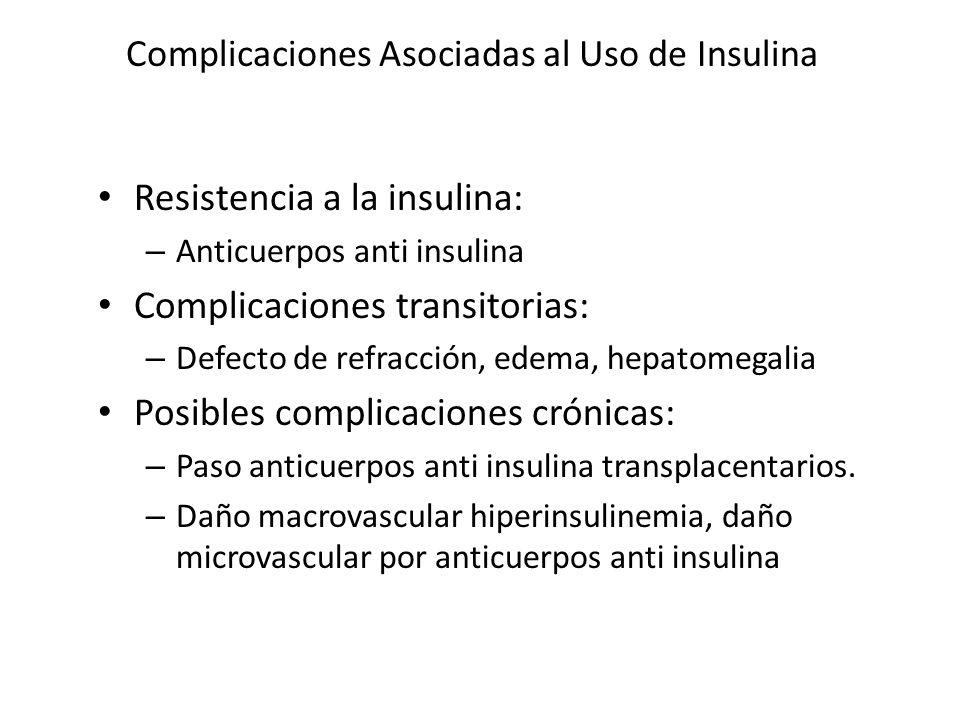 Complicaciones Asociadas al Uso de Insulina Resistencia a la insulina: – Anticuerpos anti insulina Complicaciones transitorias: – Defecto de refracció