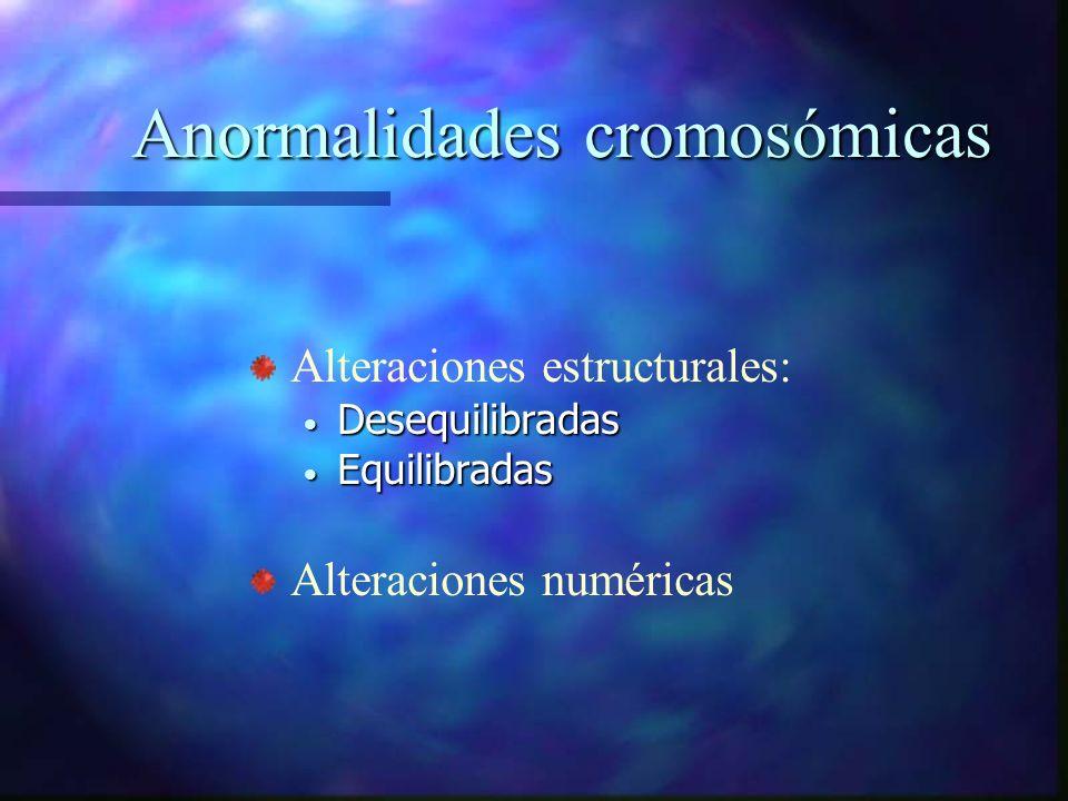 Anormalidades cromosómicas Alteraciones estructurales: Desequilibradas Desequilibradas Equilibradas Equilibradas Alteraciones numéricas