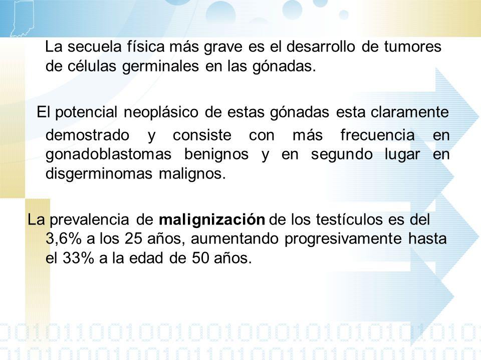 La causa más usual de consulta: -Pediátrica: hernia inguinal en un lactante de sexo aparentemente femenino (76% de los casos) -Adolescencia y Adultos: amenorrea primaria, esterilidad.