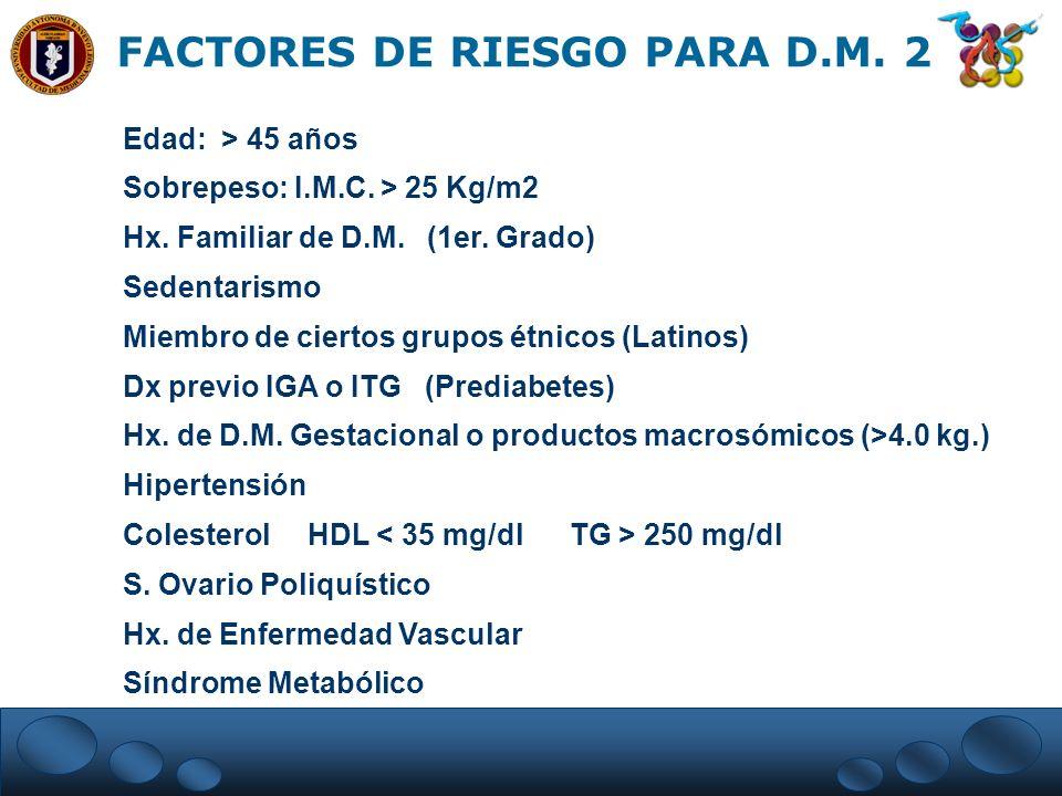 FACTORES DE RIESGO PARA D.M. 2 Edad: > 45 años Sobrepeso: I.M.C. > 25 Kg/m2 Hx. Familiar de D.M. (1er. Grado) Sedentarismo Miembro de ciertos grupos é