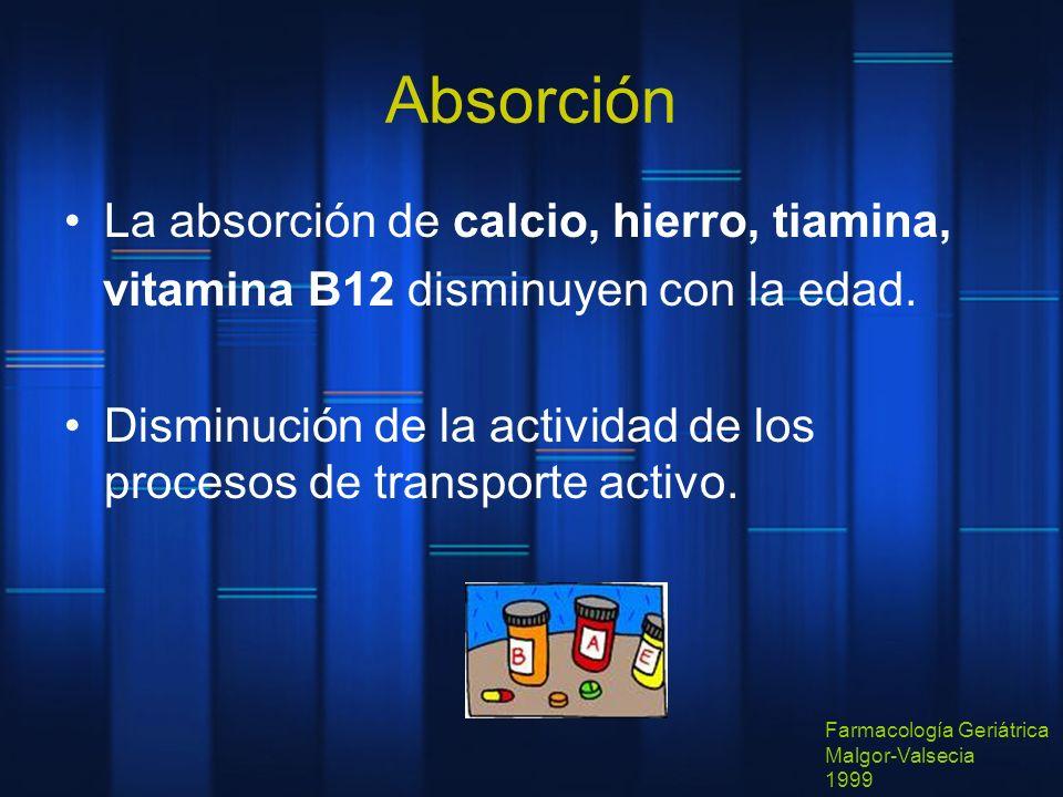 Absorción La absorción de calcio, hierro, tiamina, vitamina B12 disminuyen con la edad. Disminución de la actividad de los procesos de transporte acti
