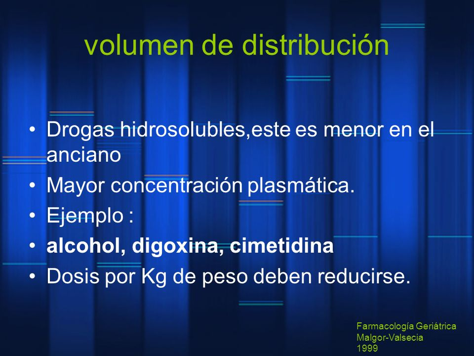 volumen de distribución Drogas hidrosolubles,este es menor en el anciano Mayor concentración plasmática. Ejemplo : alcohol, digoxina, cimetidina Dosis