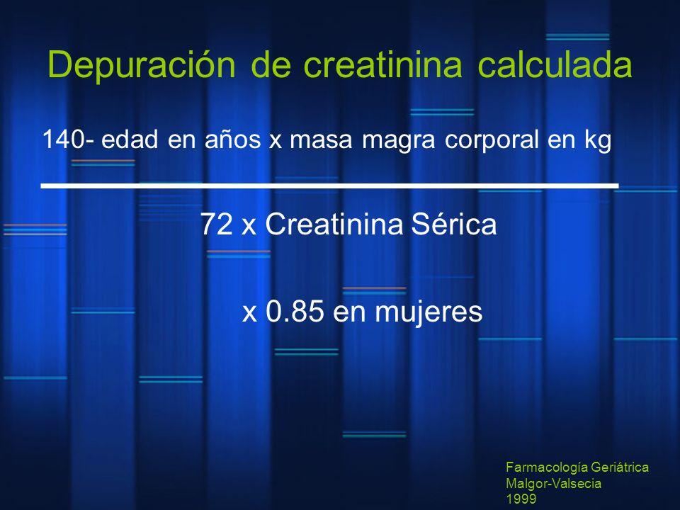 Depuración de creatinina calculada 140- edad en años x masa magra corporal en kg 72 x Creatinina Sérica x 0.85 en mujeres Farmacología Geriátrica Malg