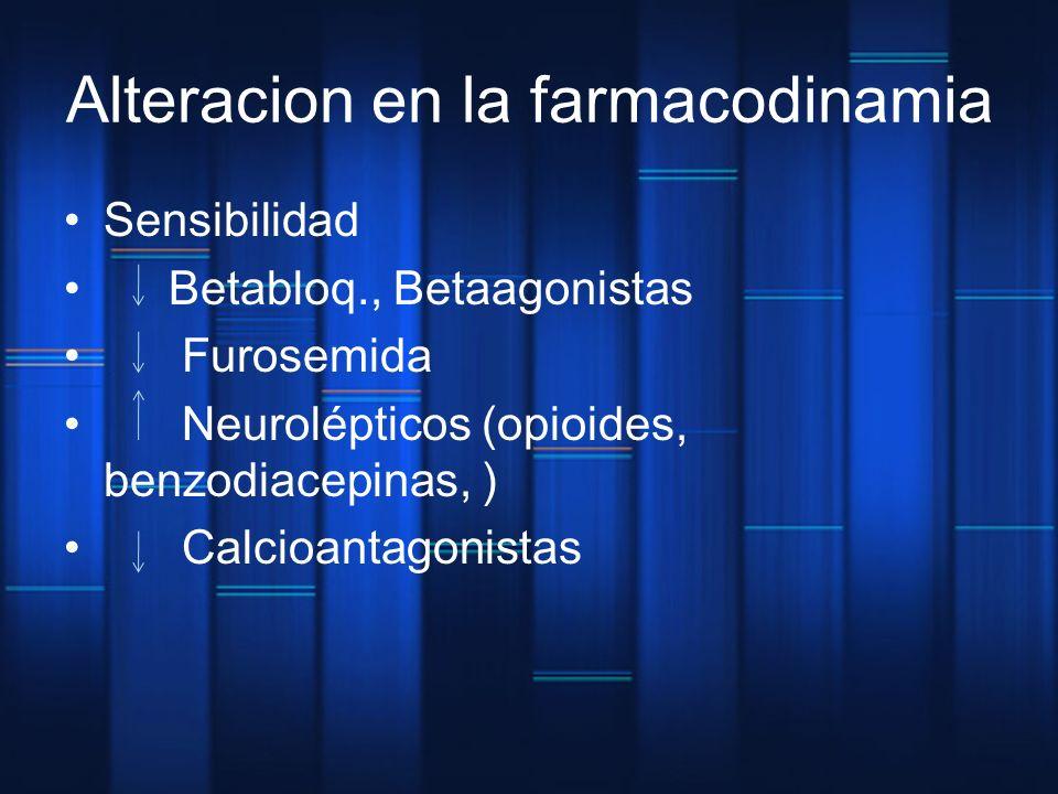 Alteracion en la farmacodinamia Sensibilidad Betabloq., Betaagonistas Furosemida Neurolépticos (opioides, benzodiacepinas, ) Calcioantagonistas