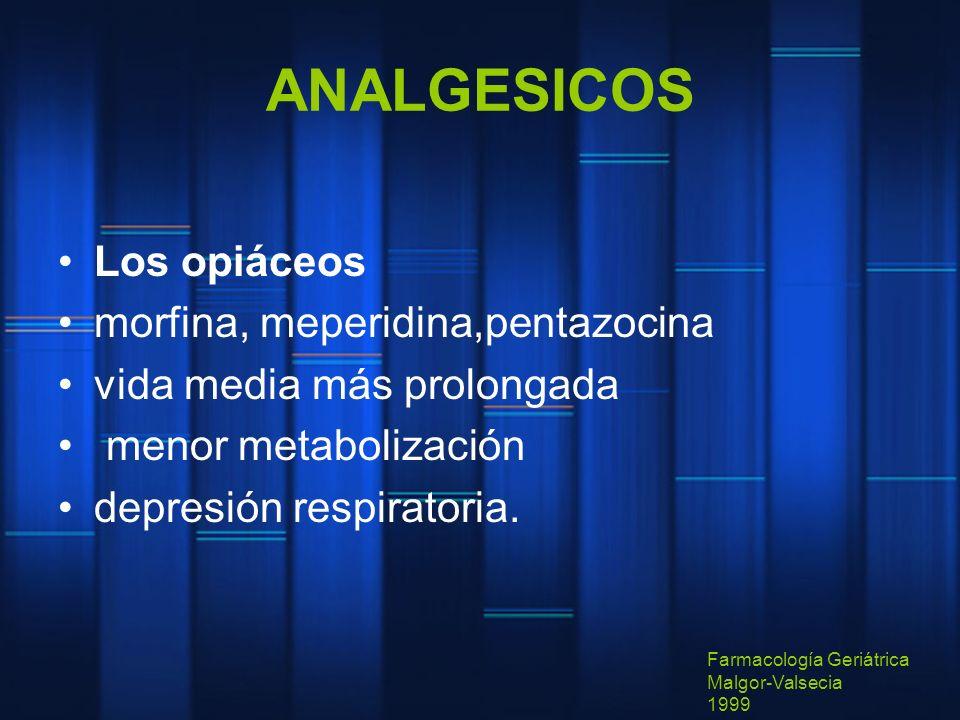 ANALGESICOS Los opiáceos morfina, meperidina,pentazocina vida media más prolongada menor metabolización depresión respiratoria. Farmacología Geriátric