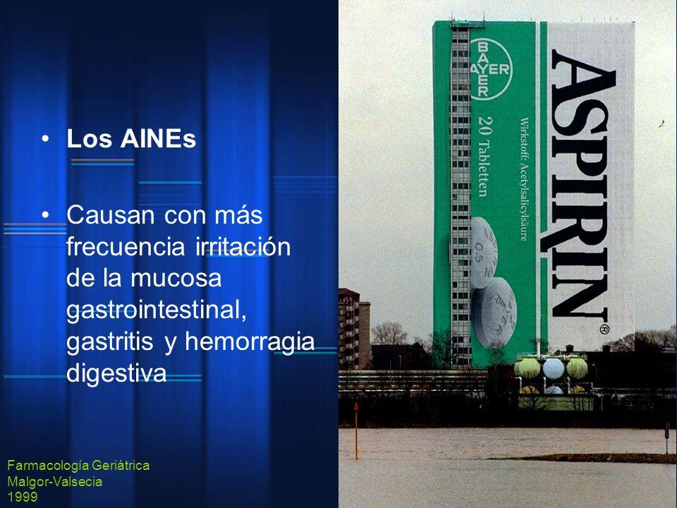 Los AINEs Causan con más frecuencia irritación de la mucosa gastrointestinal, gastritis y hemorragia digestiva Farmacología Geriátrica Malgor-Valsecia